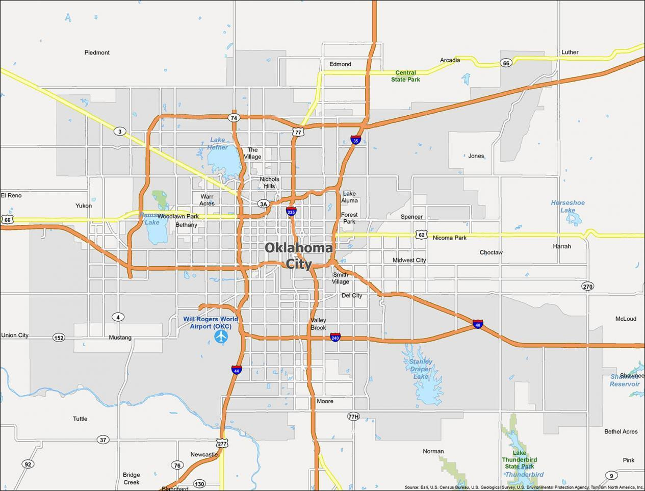 Oklahoma City Map Oklahoma
