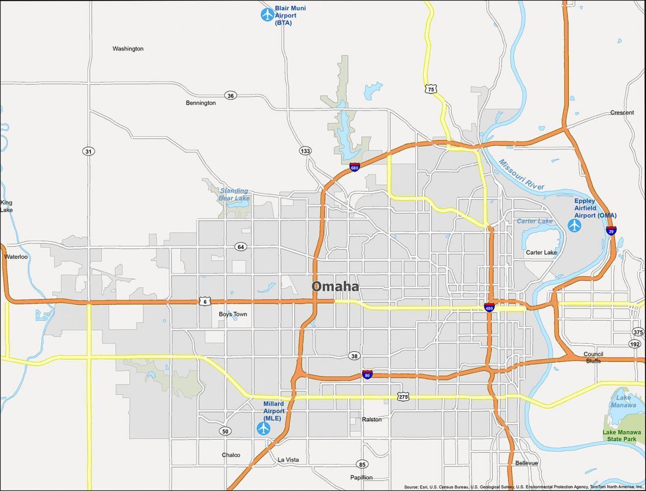 Omaha Map Nebraska