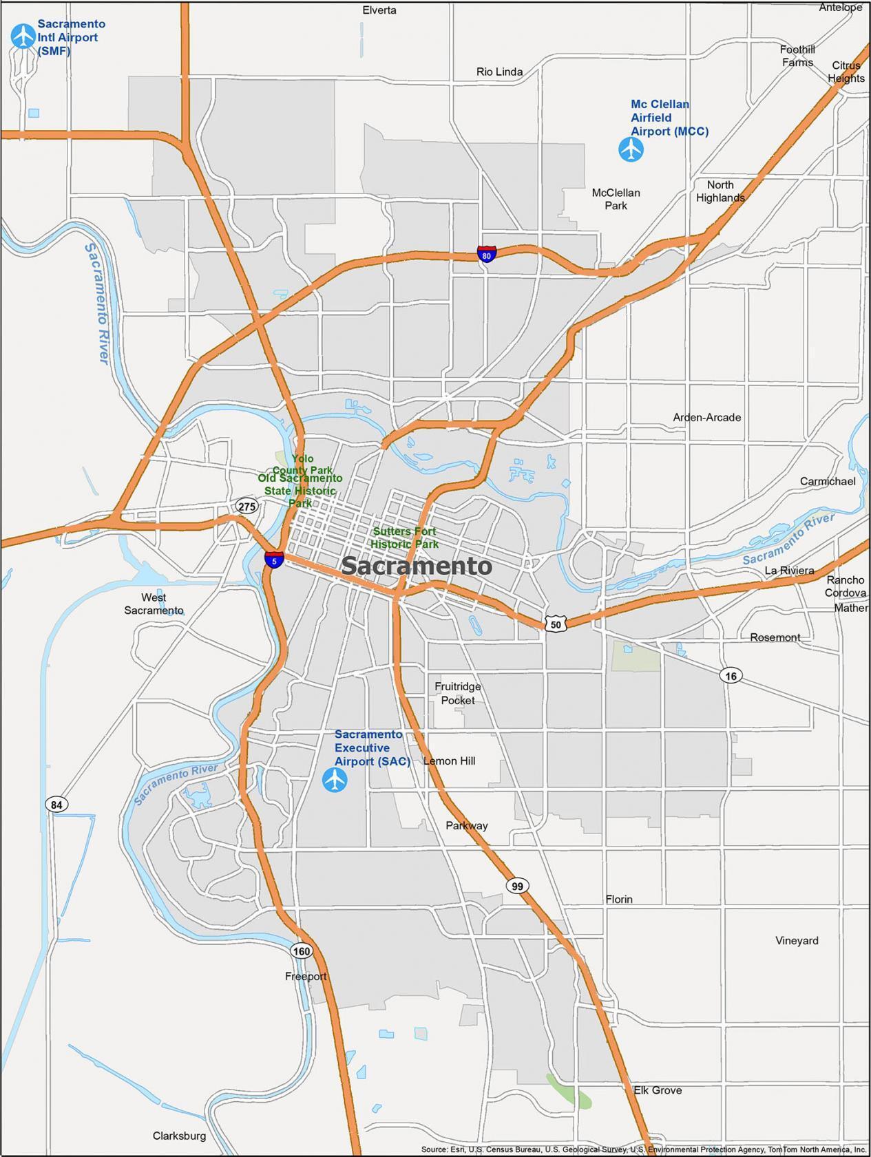 Sacramento Map California