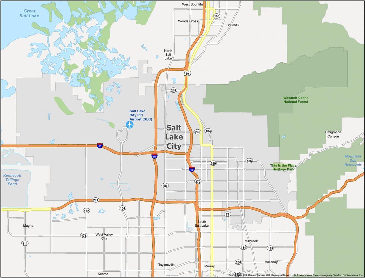 Salt Lake City Map Utah