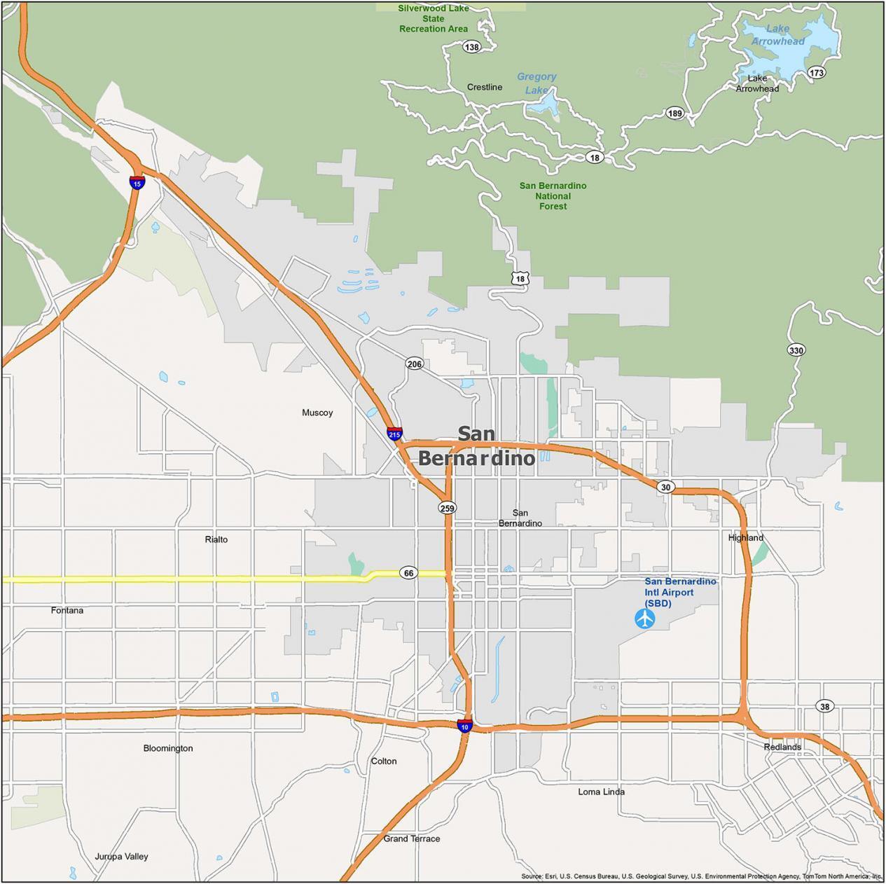 San Bernardino Map California