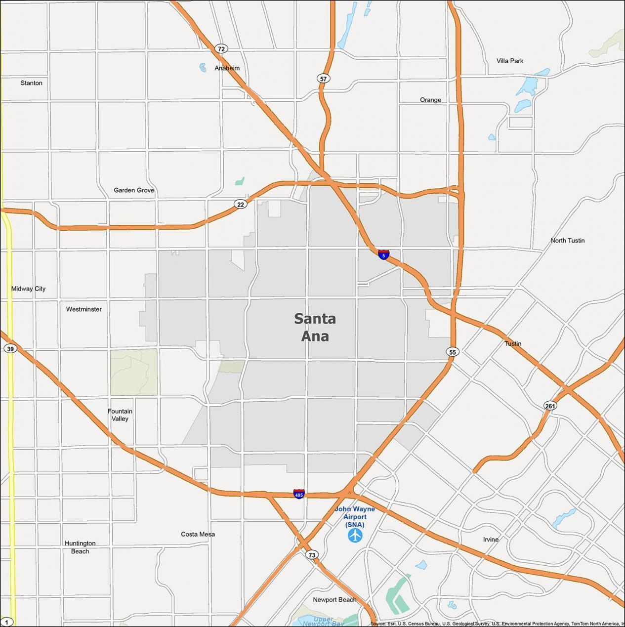 Santa Ana Map California