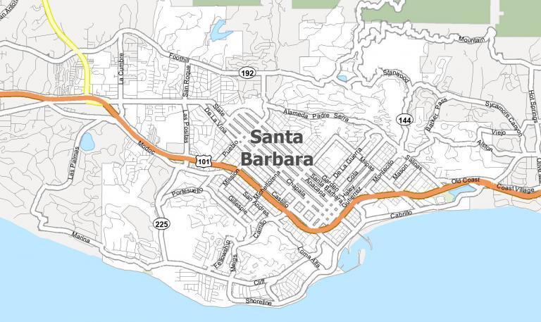 Santa Barbara California Map