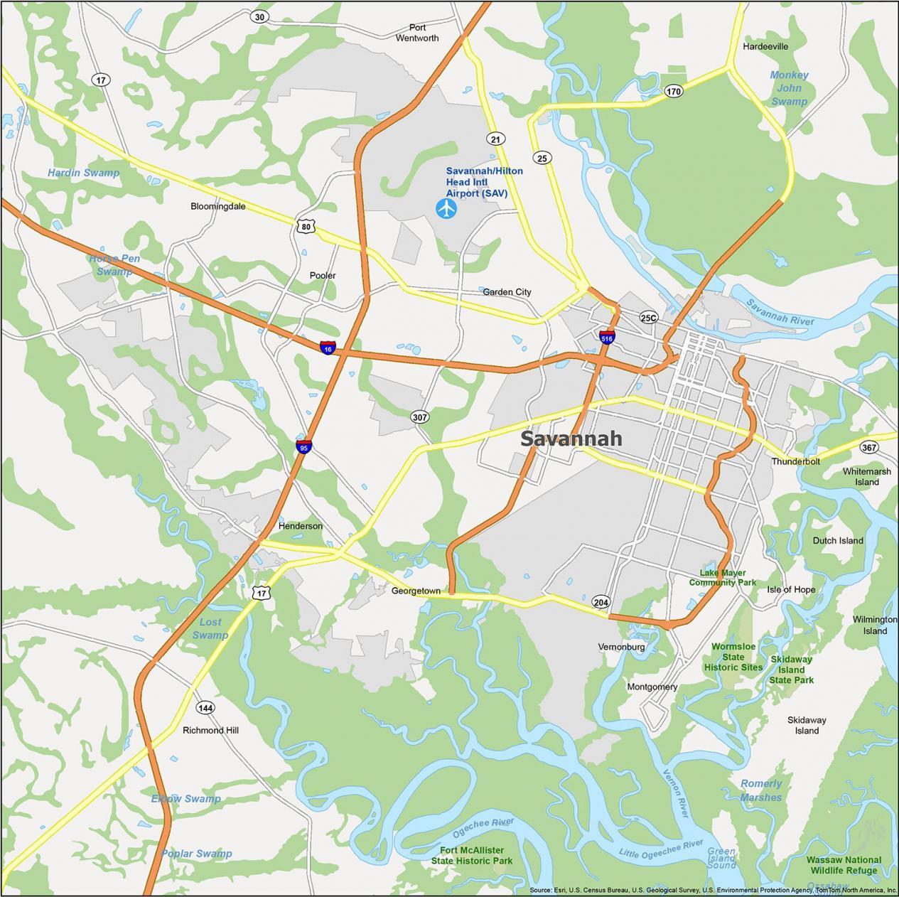 Savannah Map Georgia