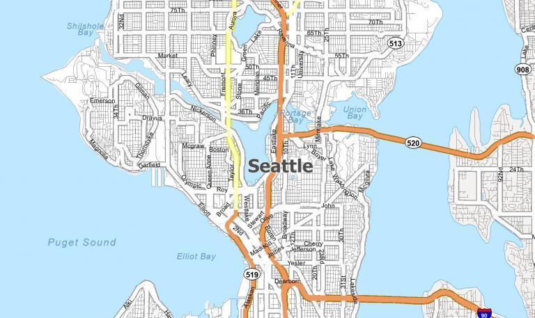 Map of Seattle, Washington