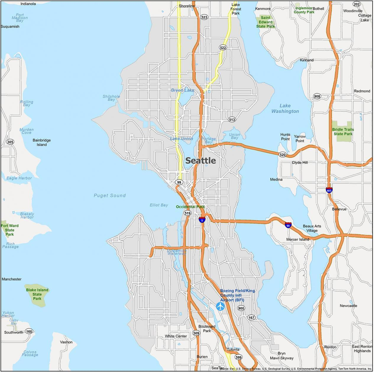 Seattle Map Washington