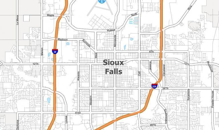 Map of Sioux Falls, South Dakota (SD)
