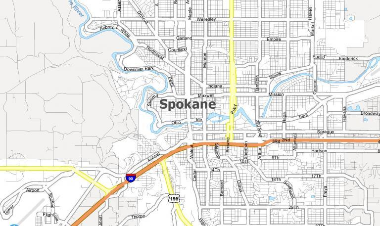 Spokane Map [Washington]