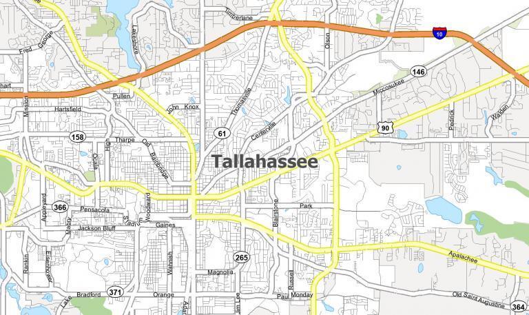 Map of Tallahassee, Florida