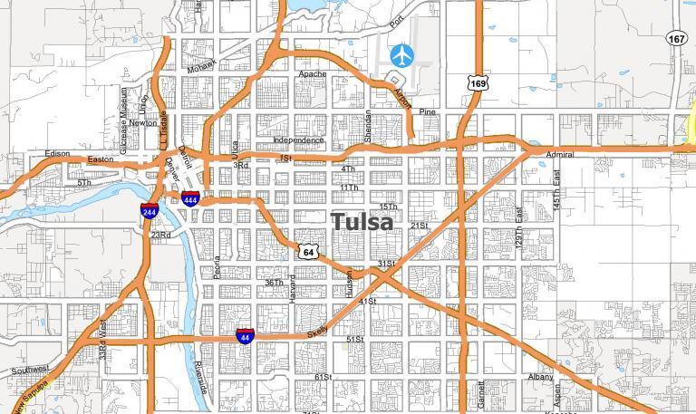 Map of Tulsa, Oklahoma