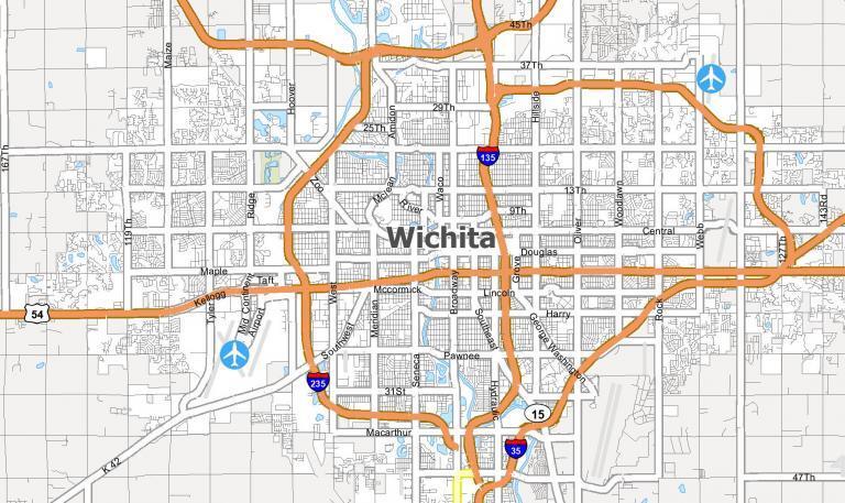 Map of Wichita, Kansas