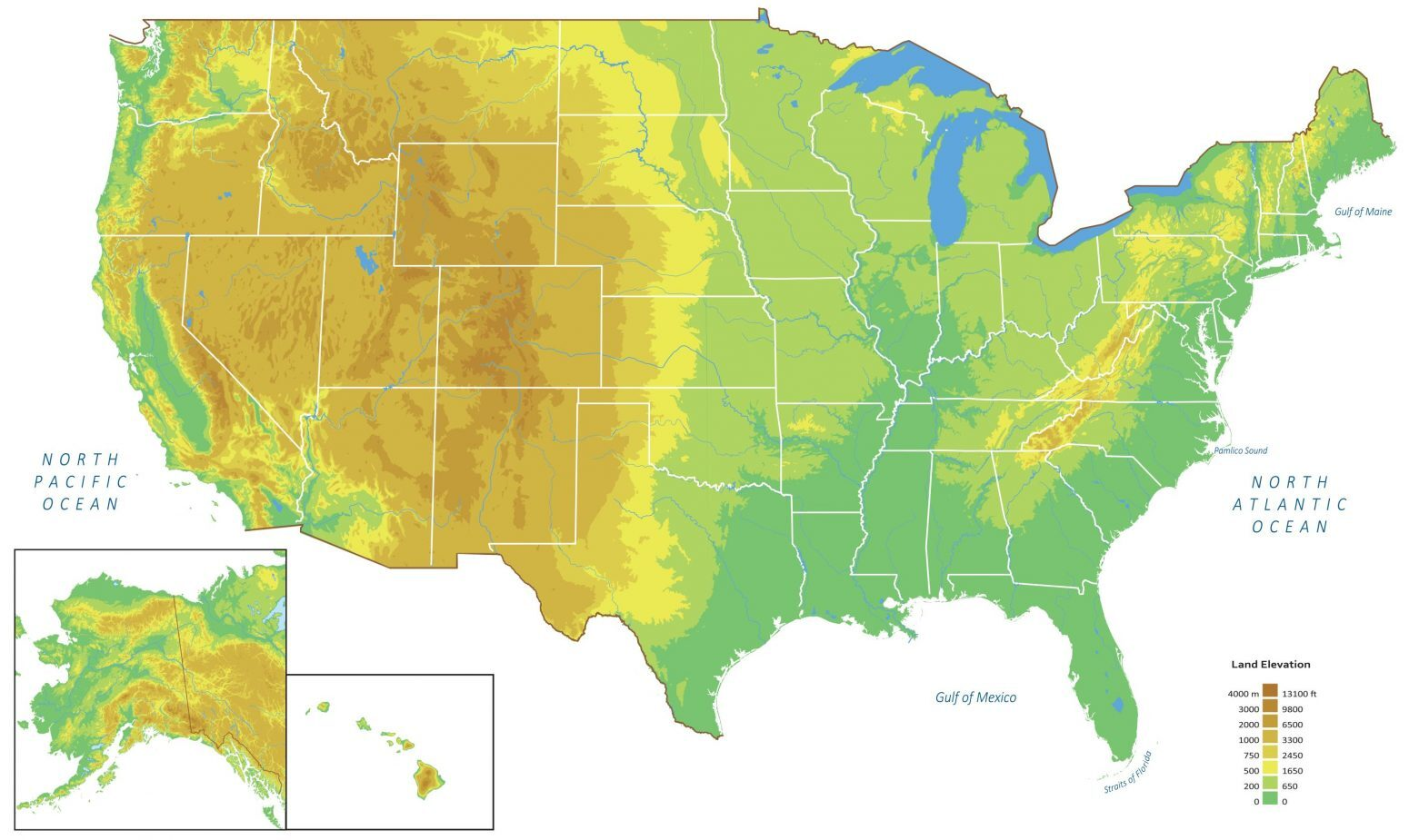 US Elevation Map