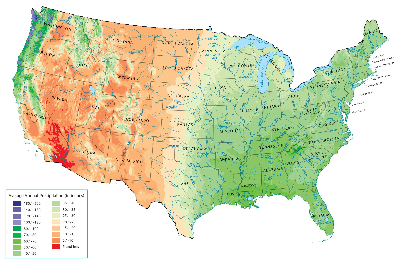 Rainfall Map Of The Us US Precipitation Map   GIS Geography