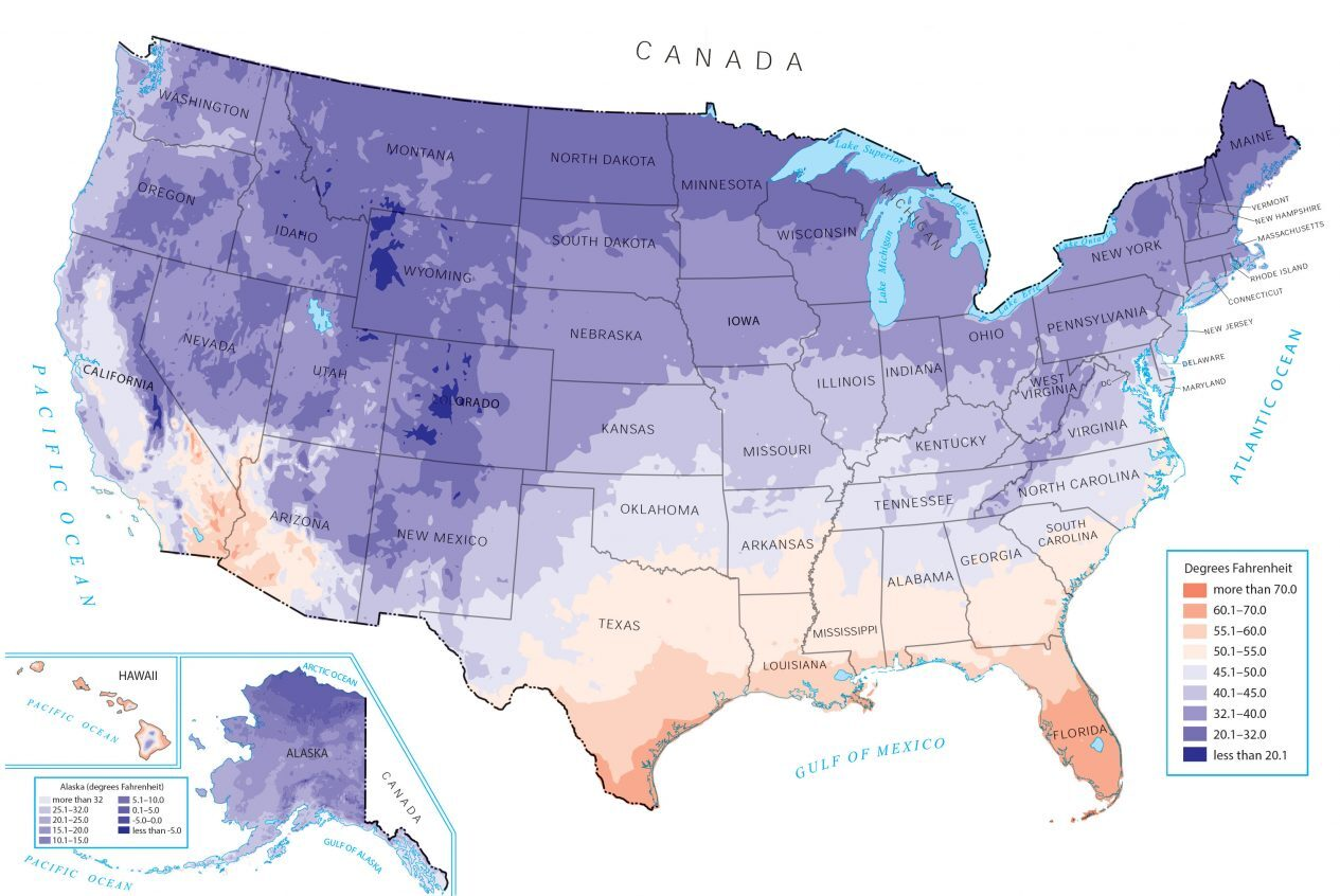 US Temperature Map Minimum