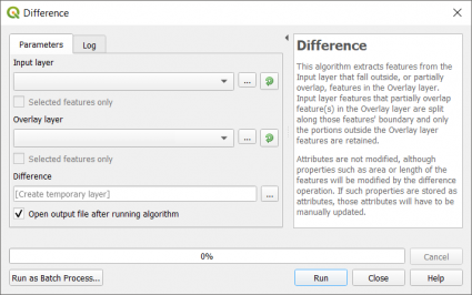 Difference Tool QGIS