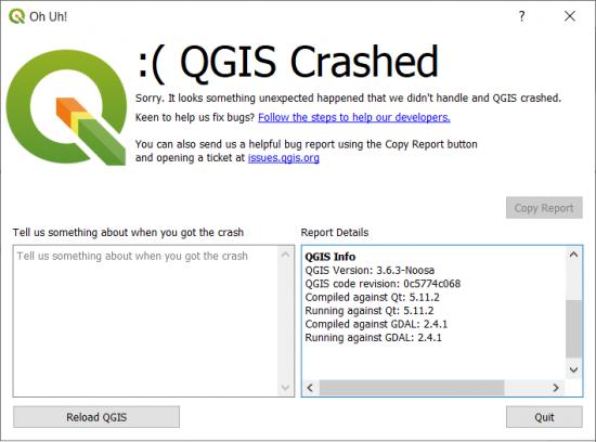 QGIS3 Crash