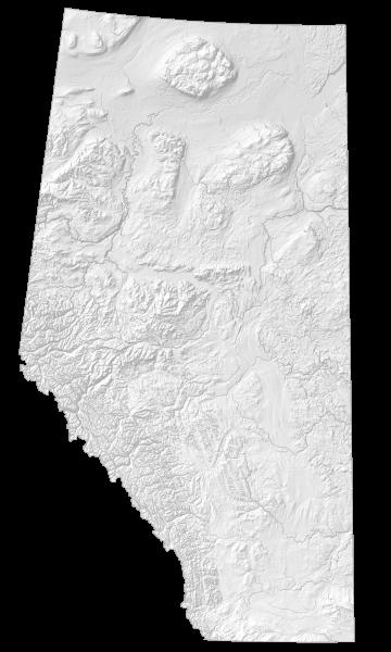 Alberta Elevation Map