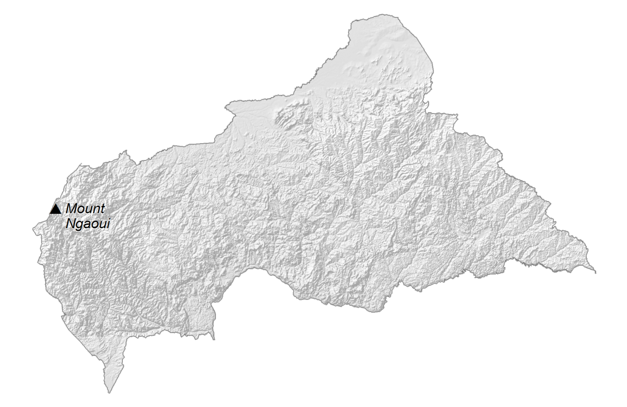 Central Africa Republic Elevation Map