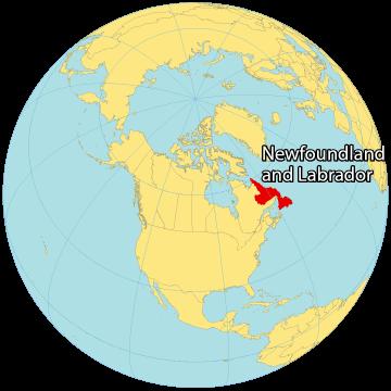 Newfoundland and Labrador Canada Map