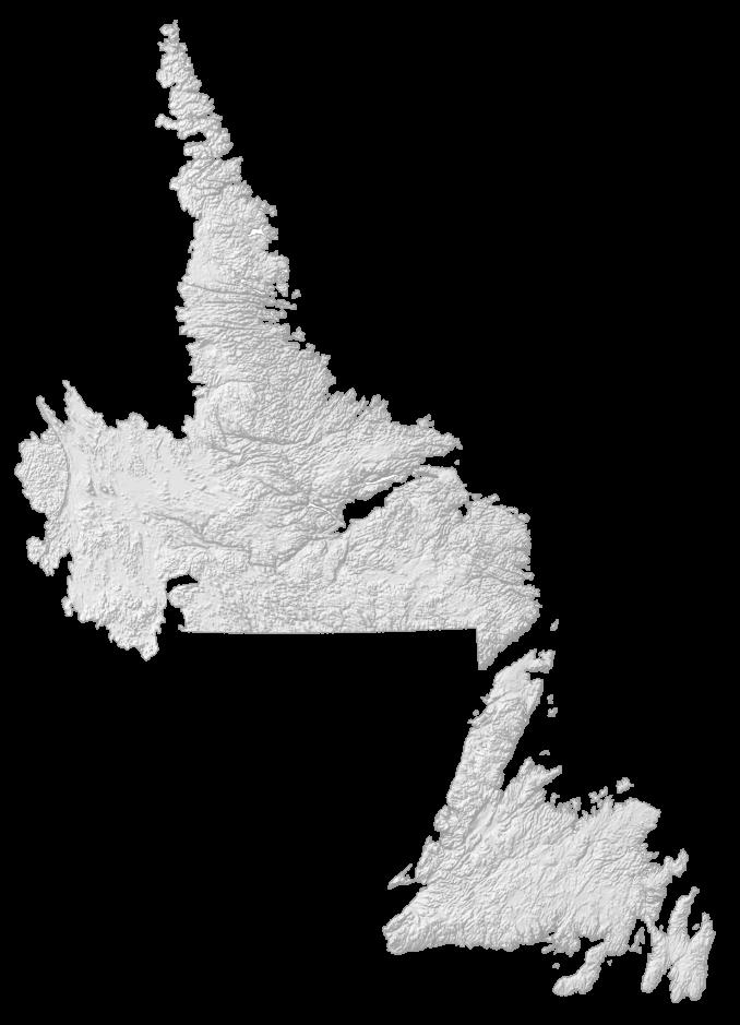 Newfoundland and Labrador Elevation Map