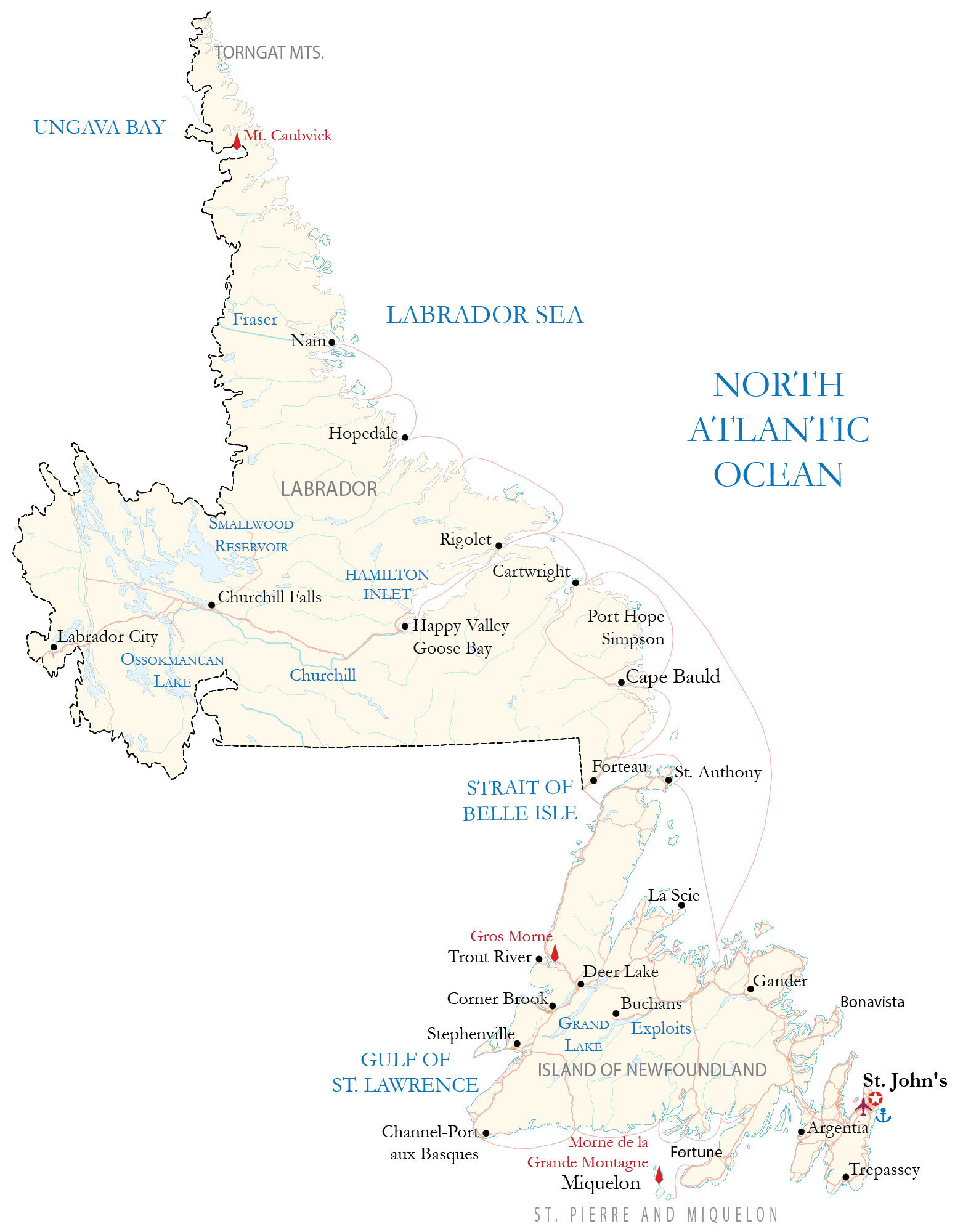 Newfoundland and Labrador Map