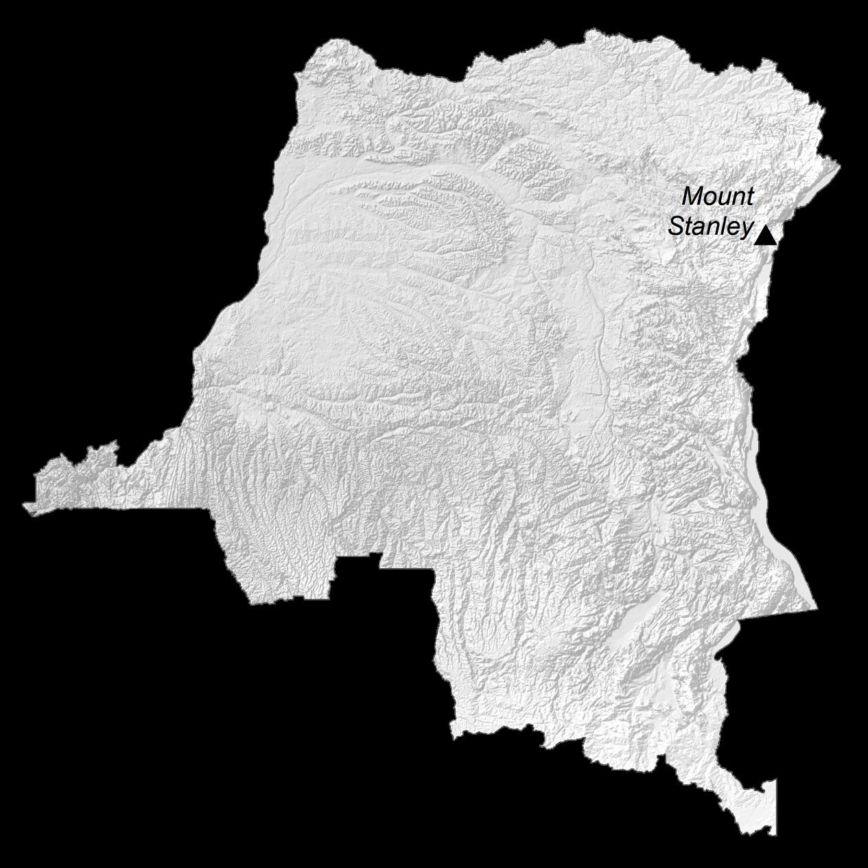 Democratic Republic of Congo Elevation Map