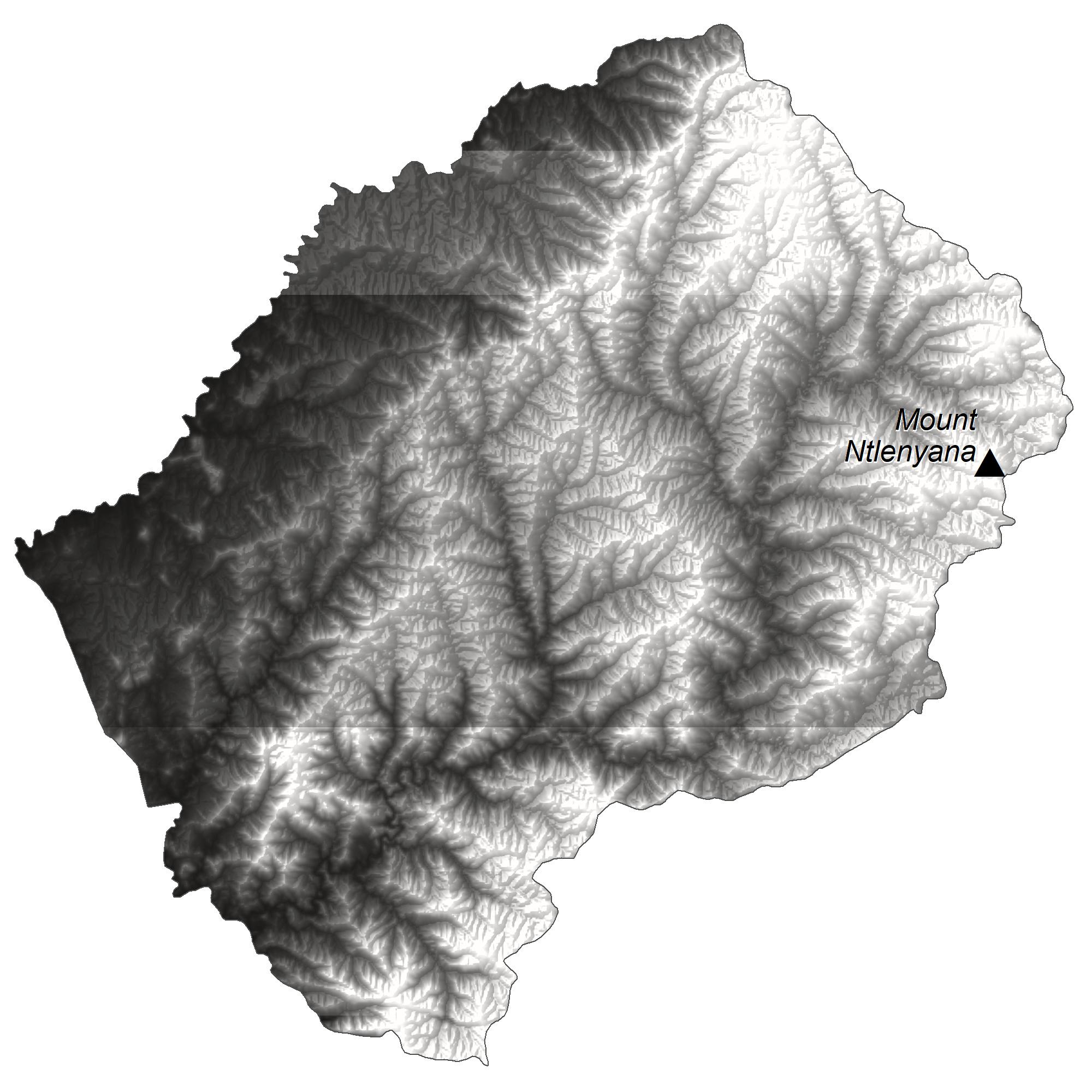 Lesotho Elevation Map