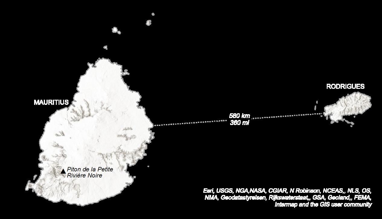 Mauritius Elevation Map