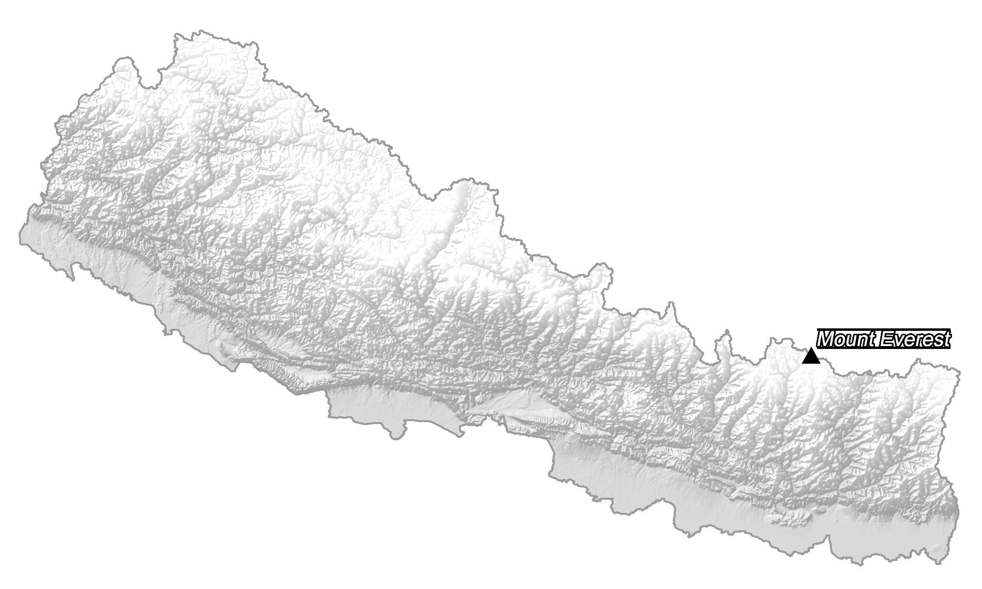 Nepal Elevation Map