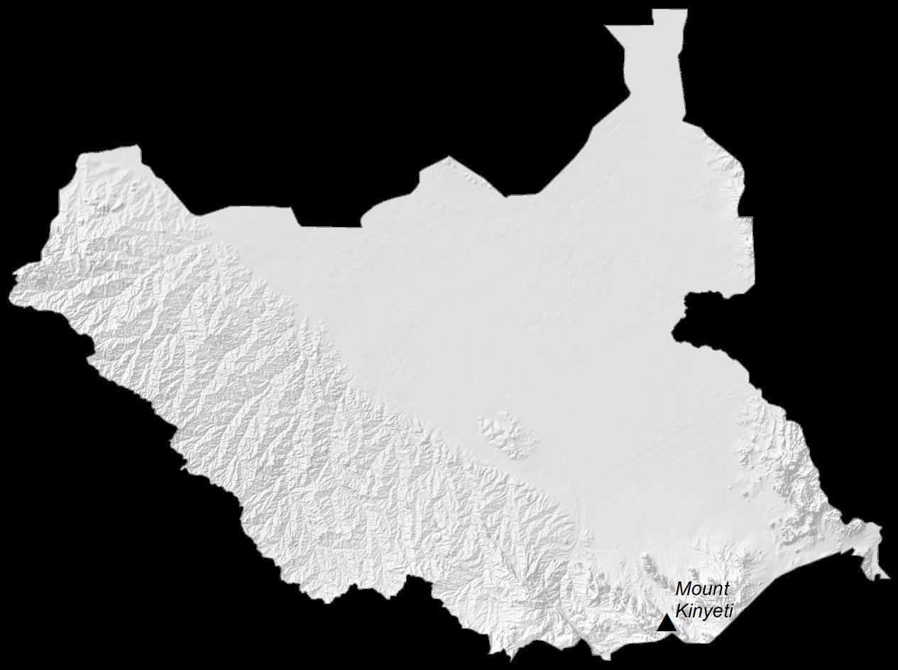 South Sudan Elevation Map