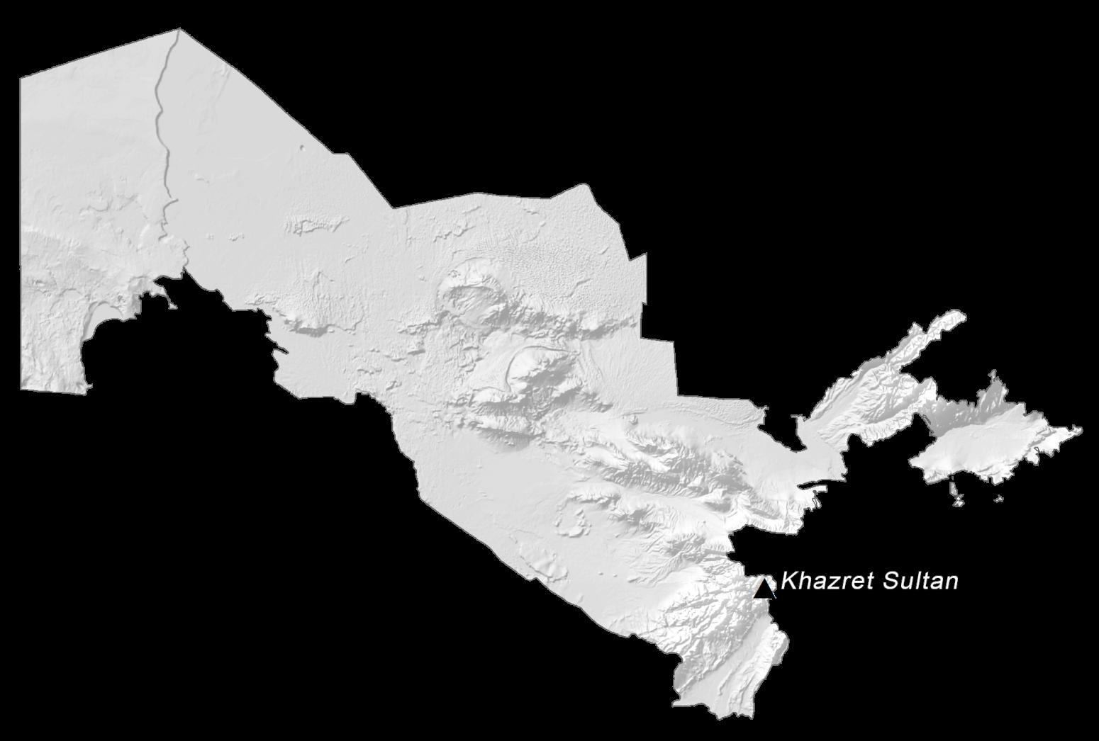 Uzbekistan Elevation Map