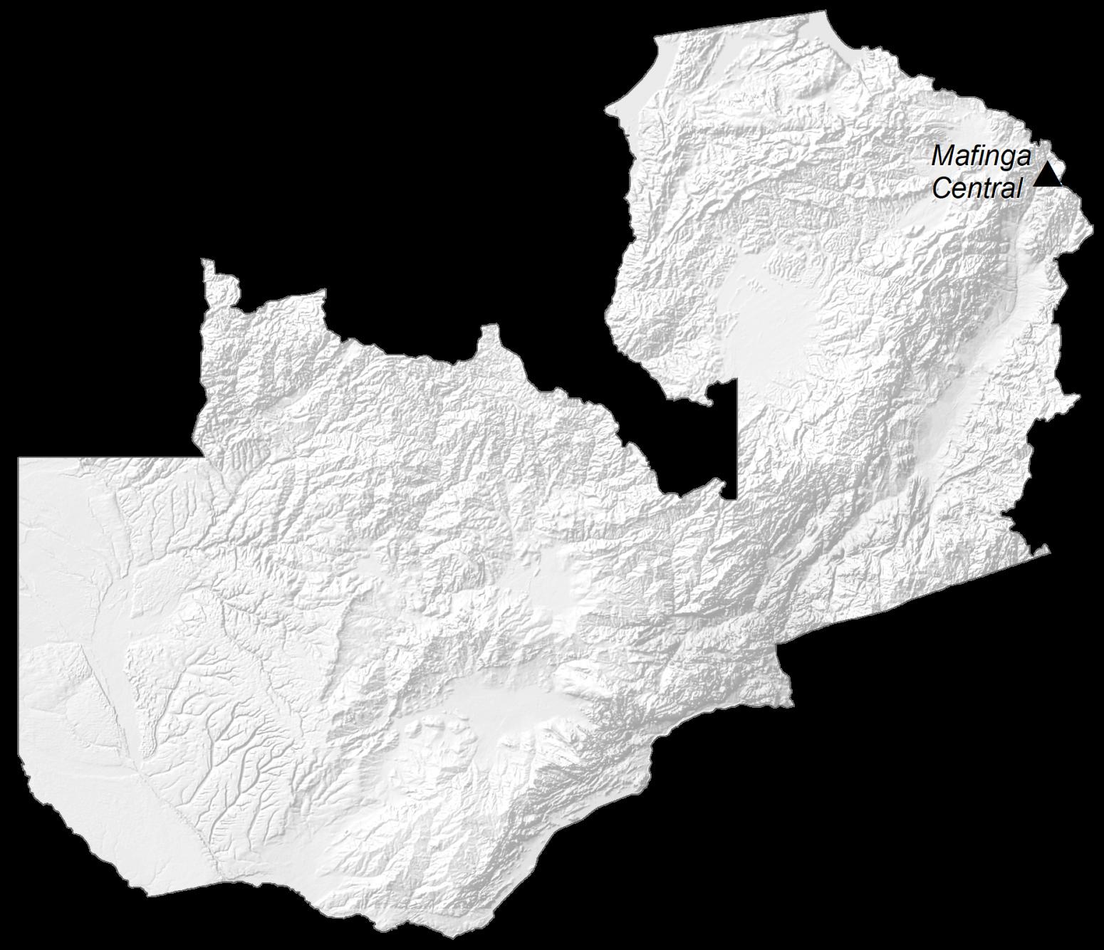 Zambia Elevation Map