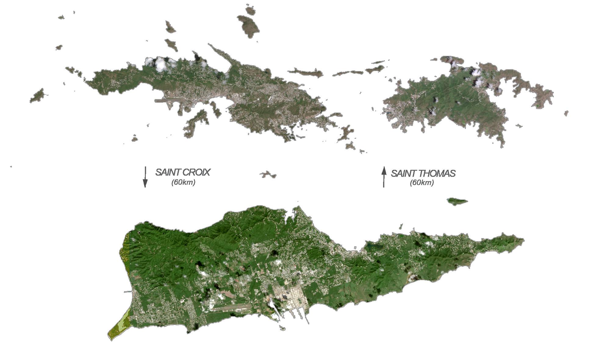 US Virgin Islands Satellite Map